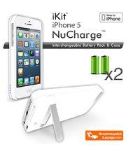 iKit Nucharge záložní baterie pro iPhone 5/5S, 1900mAh, červená kůže