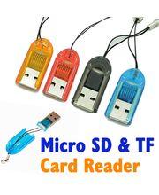 USB čtečka microSD karet s poutkem, černá
