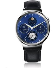 Huawei Watch W1 Stainless Steel/Black Leather Strap, stříbrné, hnědý kožený řemínek
