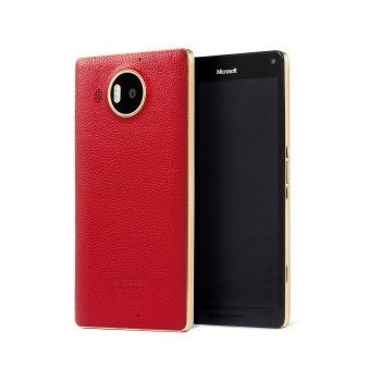 Mozo kožený kryt pro bezdrátové nabíjení pro Lumia 950 XL, červený