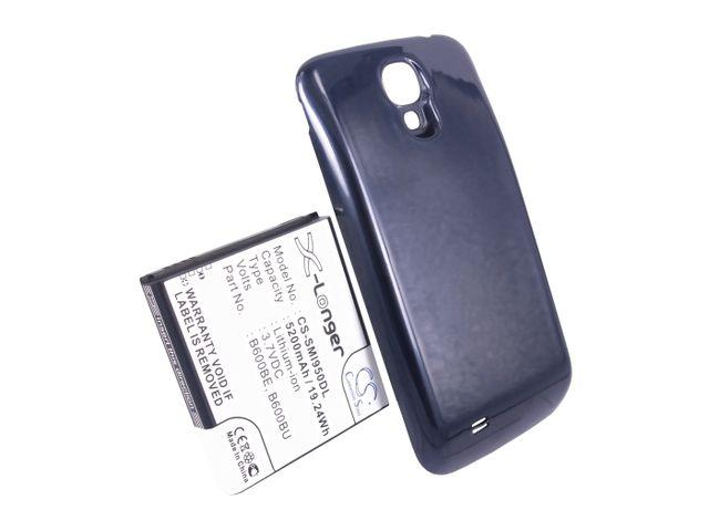 obsah balení Baterie pro Samsung Galaxy S4 (i9505), rozšířená včetně modrého krytu, 5200mAh, Li-ion + univerzální nabíječka baterií