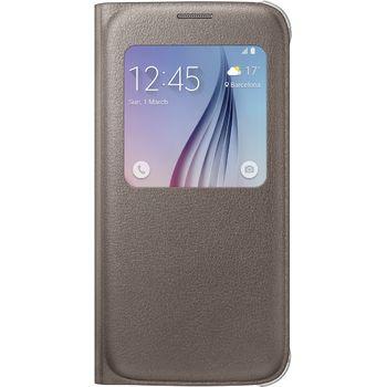 Samsung flipové pouzdro S-View EF-CG920PF pro Galaxy S6, imitace kůže, zlatá