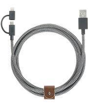 Native Union Belt Lightning a microUSB kabel, 200cm, čeno-bílý