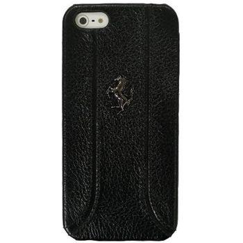 Ferrari zadní kožený kryt pro iPhone 5, černý