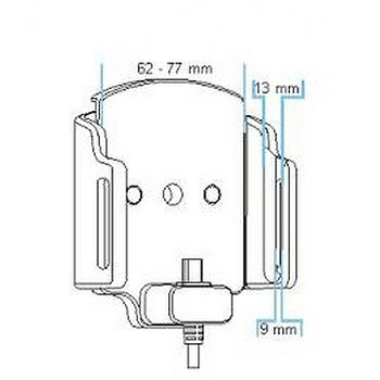 Brodit držák do auta nastavitelný s microUSB a nabíjením z cig. zapalovače/USB š. 62-77 mm, tl. 9-13