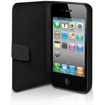 PURO kožené pouzdro iPhone 4/4S s horizontálním flipem - černá