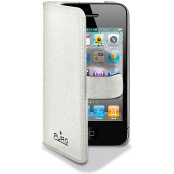 PURO kožené pouzdro iPhone 4/4S s horizontálním flipem - bílá